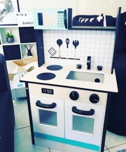 Kmart wooden toy kitchen, utensils, splashboard upside down, wooden kitchen