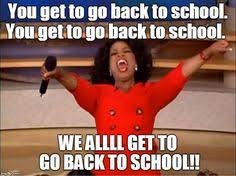 Oprah Winfrey in red dress with and you get to go back to school in white writing. Oprah meme